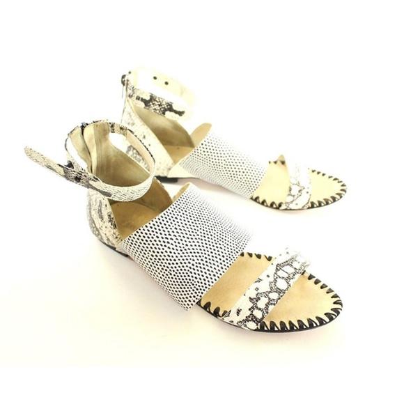 d50a54a3ca869 Loeffler Randall Shoes - Loeffler Randall Snakeskin Flat Sandals